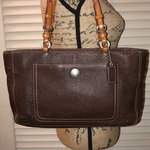 Coach Brown Pebbled Leather Chelsea Shoulder Tote